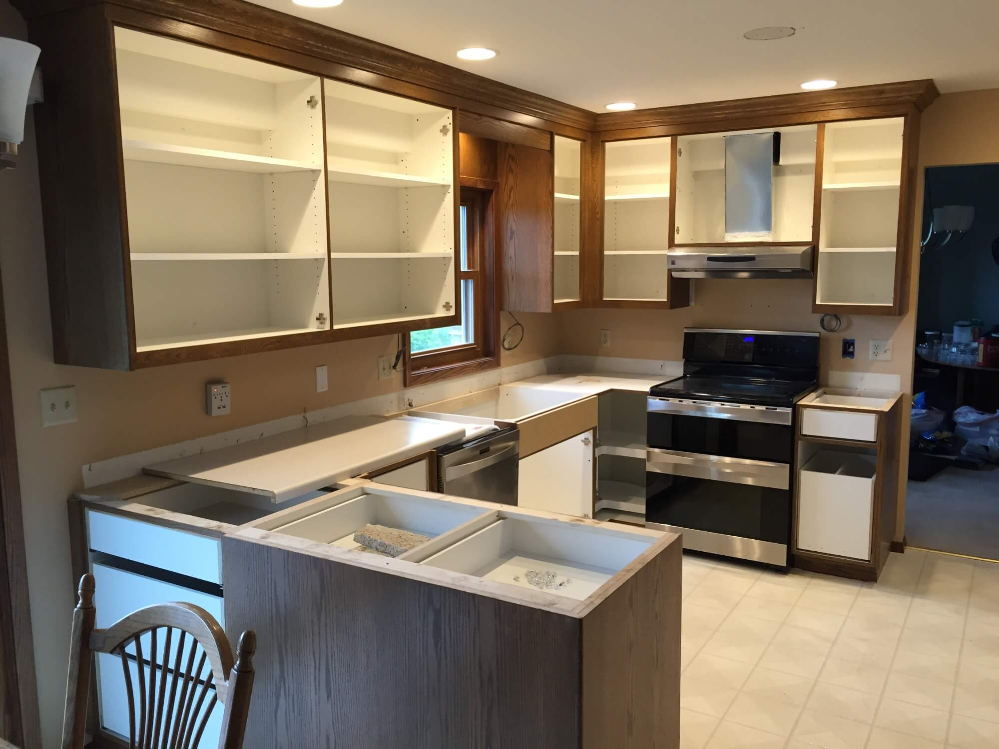 Kitchen with Panel Cabinets Installed